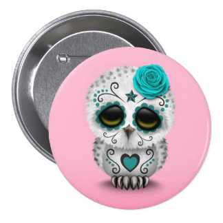 Cute Teal Day of the Dead Sugar Skull Owl Pink Pin
