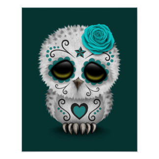 Cute Teal Day of the Dead Sugar Skull Owl Poster