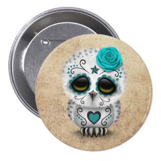 Cute Teal Day of the Dead Sugar Skull Owl Rough Pinback Buttons