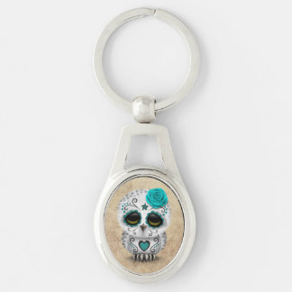 Cute Teal Day of the Dead Sugar Skull Owl Rough Key Ring