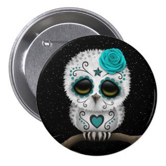 Cute Teal Day of the Dead Sugar Skull Owl Stars Pinback Buttons