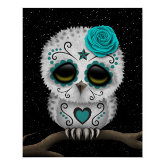 Cute Teal Day of the Dead Sugar Skull Owl Stars Poster