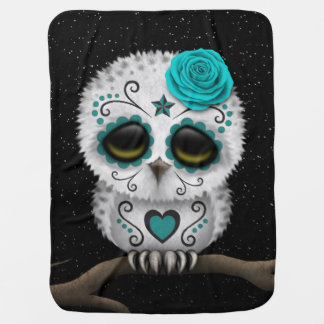 Cute Teal Day of the Dead Sugar Skull Owl Stars Receiving Blanket