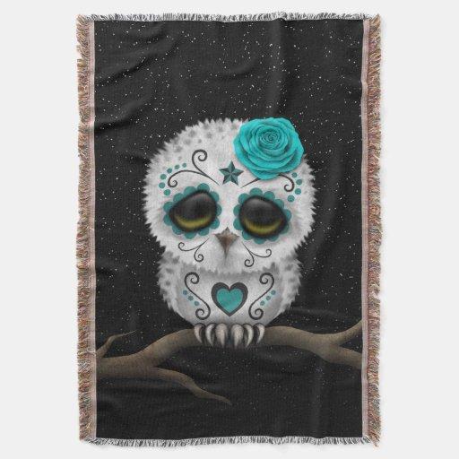 Cute Teal Day of the Dead Sugar Skull Owl Stars Throw