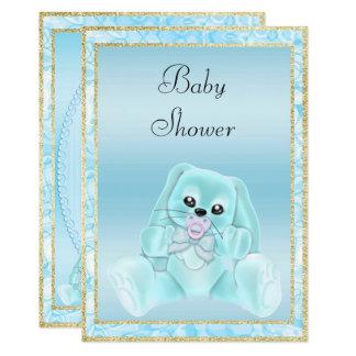 Cute Teal Floppy Ears Bunny Baby Shower Card
