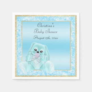 Cute Teal Floppy Ears Bunny Baby Shower Disposable Serviette