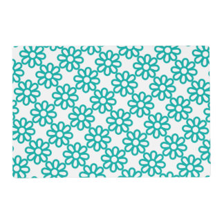 Cute Teal floral Laminated Place Mat