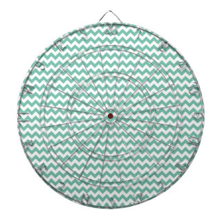 Cute Teal Green Chevron Pattern Dartboard