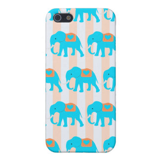 Cute Teal Turquoise Blue Elephants on Peach Stripe Case For iPhone 5/5S