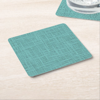 Cute Teal Turquoise Green Faux Jute Fabric Pattern Square Paper Coaster