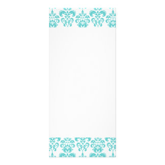 Cute Teal White Vintage Damask Pattern 2 Personalized Rack Card