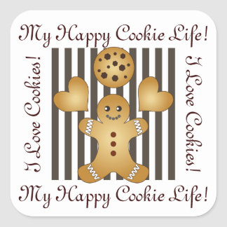 Cute Team Cookie Cartoon Personalized Kids Square Sticker