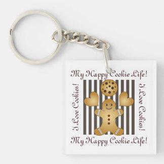 Cute Team Cookie Cartoon Stripes Personalized Kids Key Ring