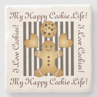 Cute Team Cookie Cartoon Stripes Personalized Kids Stone Coaster