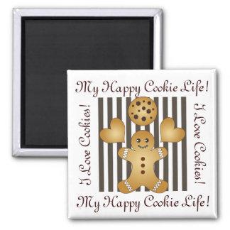 Cute Team Cookie Stripe Kids Personalized Square Magnet