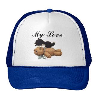 Cute Teddy Bear And Black Cat - My Love Cap