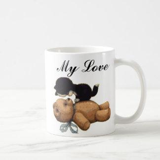 Cute Teddy Bear And Black Cat - My Love Coffee Mug
