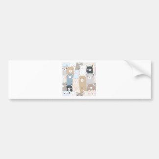 cute teddy bear blue grey pastel pattern bumper sticker