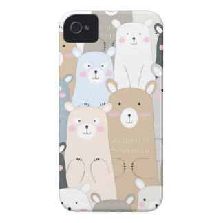 cute teddy bear blue grey pastel pattern Case-Mate iPhone 4 case