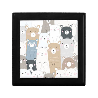 cute teddy bear blue grey pastel pattern gift box