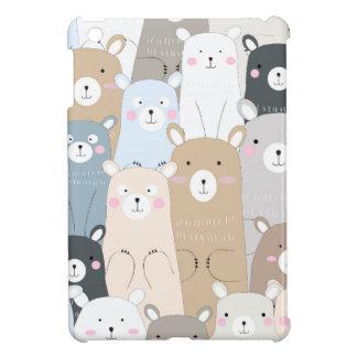 cute teddy bear blue grey pastel pattern iPad mini case