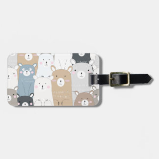 cute teddy bear blue grey pastel pattern luggage tag