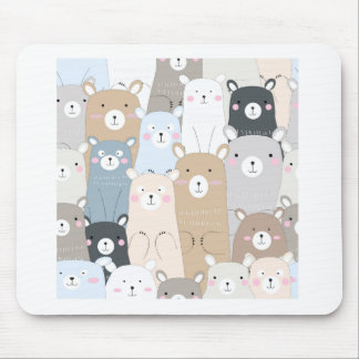 cute teddy bear blue grey pastel pattern mouse pad