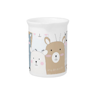 cute teddy bear blue grey pastel pattern pitcher
