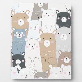 cute teddy bear blue grey pastel pattern plaque