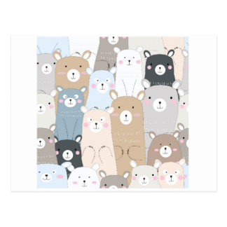 cute teddy bear blue grey pastel pattern postcard