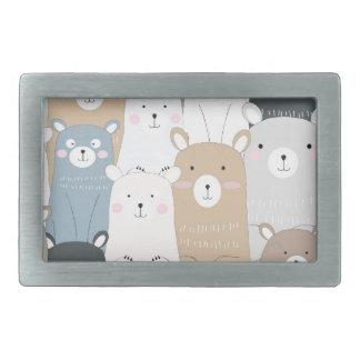 cute teddy bear blue grey pastel pattern rectangular belt buckle