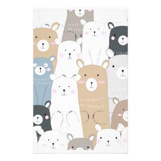 cute teddy bear blue grey pastel pattern stationery