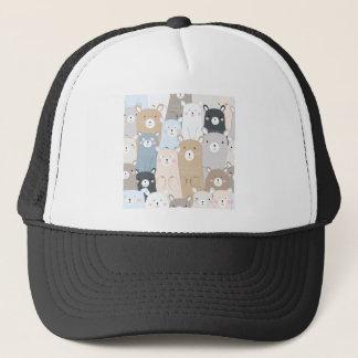 cute teddy bear blue grey pastel pattern trucker hat