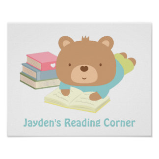 Cute Teddy Bear Books Reading Corner Posters