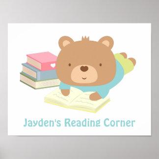 Cute Teddy Bear Books Reading Corner Posters