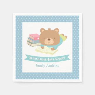 Cute Teddy Bear Bring a Book Baby Shower Paper Napkin