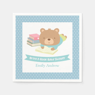 Cute Teddy Bear Bring a Book Baby Shower Paper Napkins