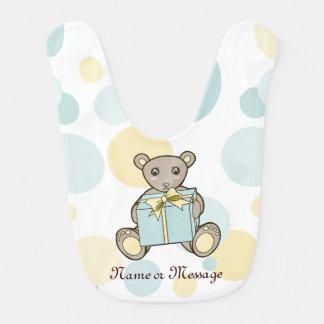 Cute Teddy Bear Cartoon Pastel Baby Girls   Boys Bib