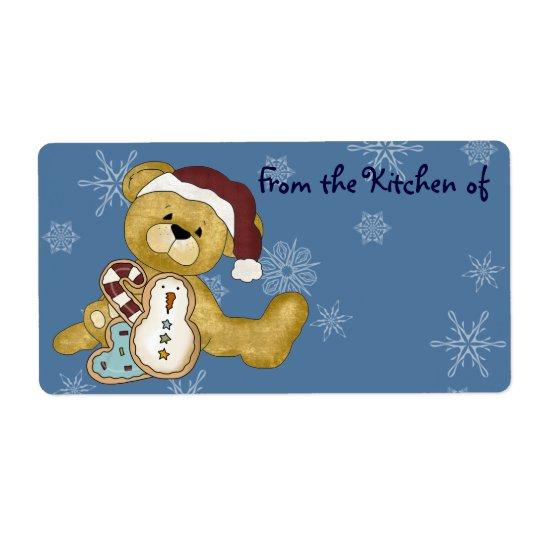 Cute Teddy Bear Christmas Kitchen Labels