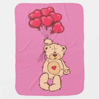 Cute teddy bear design for girls receiving blankets