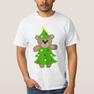 Cute Teddy Bear Dressed as a Christmas Tree T-Shirt
