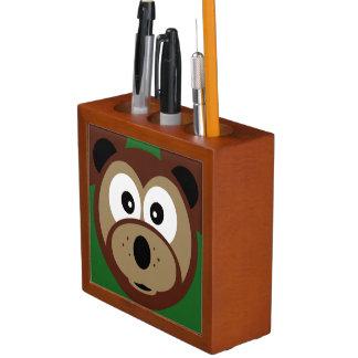 Cute Teddy Bear Face  Kids  Desk Organizer Pencil Holder