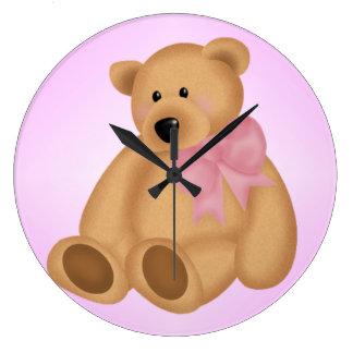 Cute Teddy Bear, For Baby Girl Wallclocks