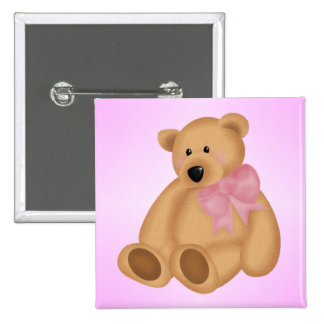 Cute Teddy Bear, For Baby Girl Pinback Button