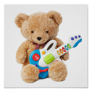Cute Teddy Bear Guitar Poster