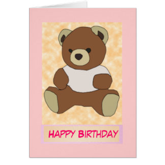 Cute Teddy Bear in Pink T-Shirt Card