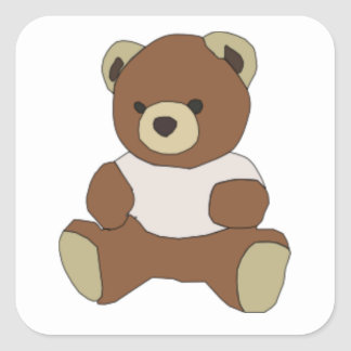 Cute Teddy Bear In Pink T-shirt Square Stickers