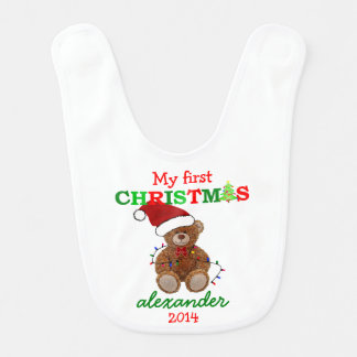 Cute Teddy Bear In Santa Hat My First Christmas Bib