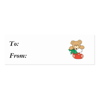 Cute Teddy Bear in Stocking Business Card Template
