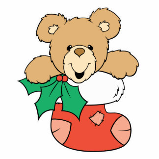 Cute Teddy Bear in Stocking Standing Photo Sculpture